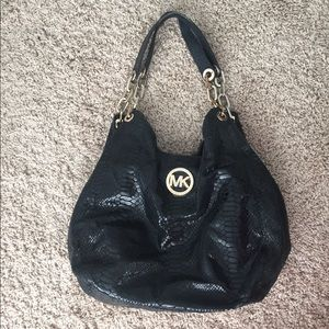 Michael Kors Black Snakeskin Large Purse